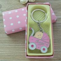 Baby Shower Stroller Party Favor (12PCS) for Girl Key Ring Recuerdos de mi Baby Shower de Niña Pink Gift Box JK063pnk