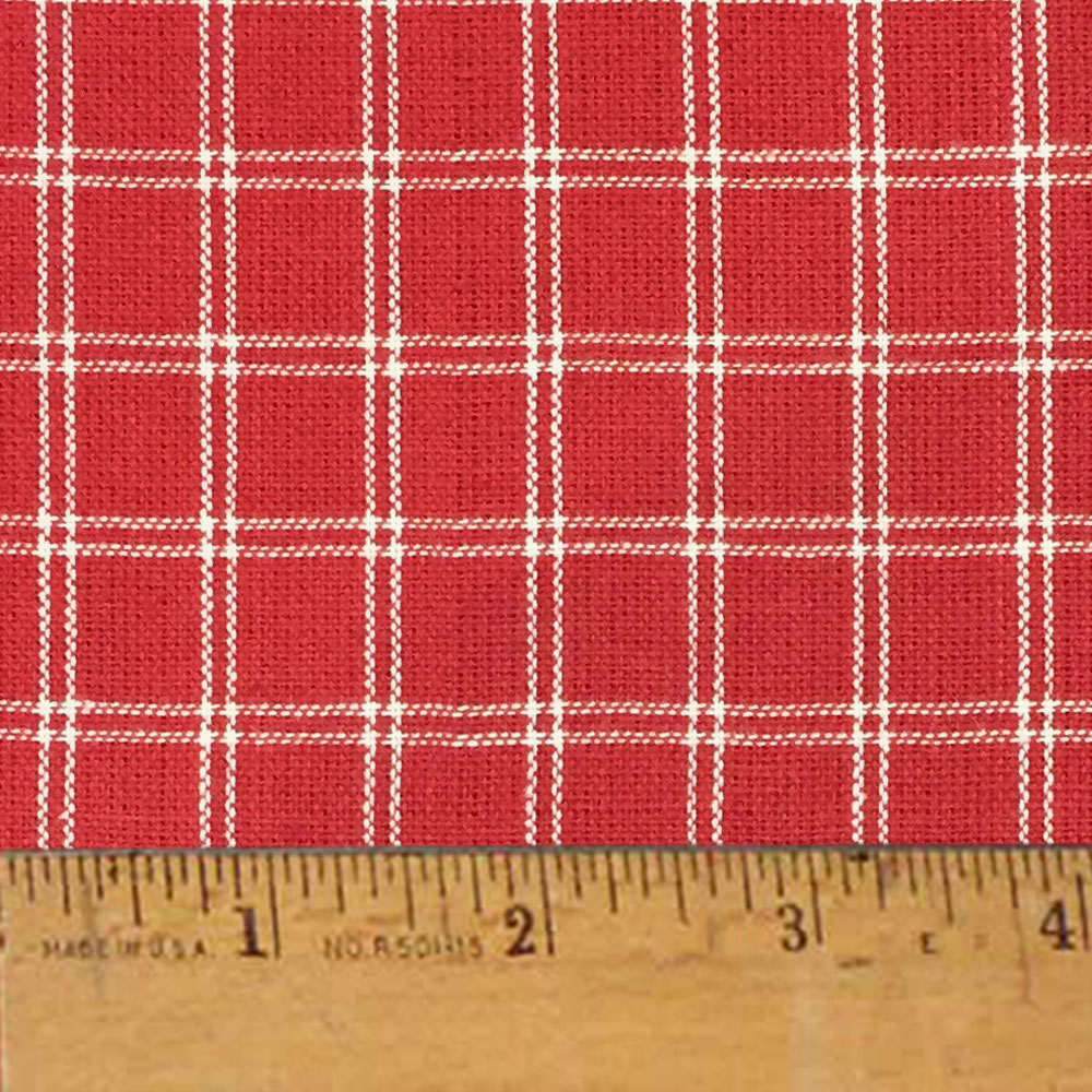 Cherry Red 4 Plaid Christmas Homespun Cotton Fabric Sold by the Yard - JCS Fabric