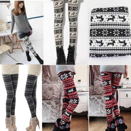 New Knitted Nordic Snowflake Pattern Reindeer Christmas Deer Warm Tights Pants US](Star Wars Tights)