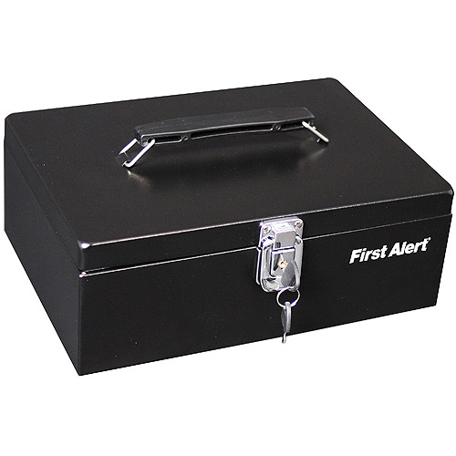 First Alert 3020F Locking Steel Cash Box, Black