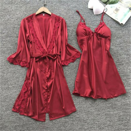 Silk Lingerie Camisole Tap Pant (3PCS Women's Silk Satin Nightie Gown Lingerie Sleepwear Pyjamas Set Robe + Pants )