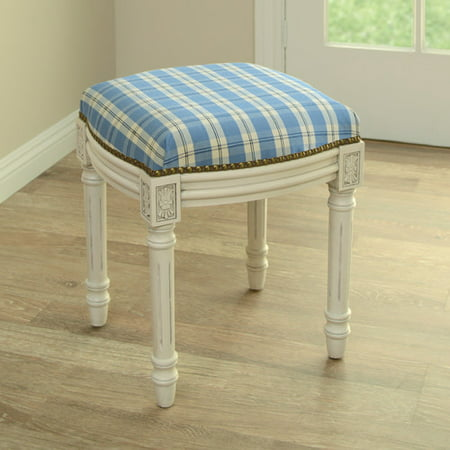 Marvelous 123 Creations Plaid Upholstered Vanity Stool Theyellowbook Wood Chair Design Ideas Theyellowbookinfo