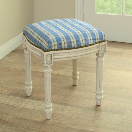 Astonishing 123 Creations Plaid Upholstered Vanity Stool Creativecarmelina Interior Chair Design Creativecarmelinacom
