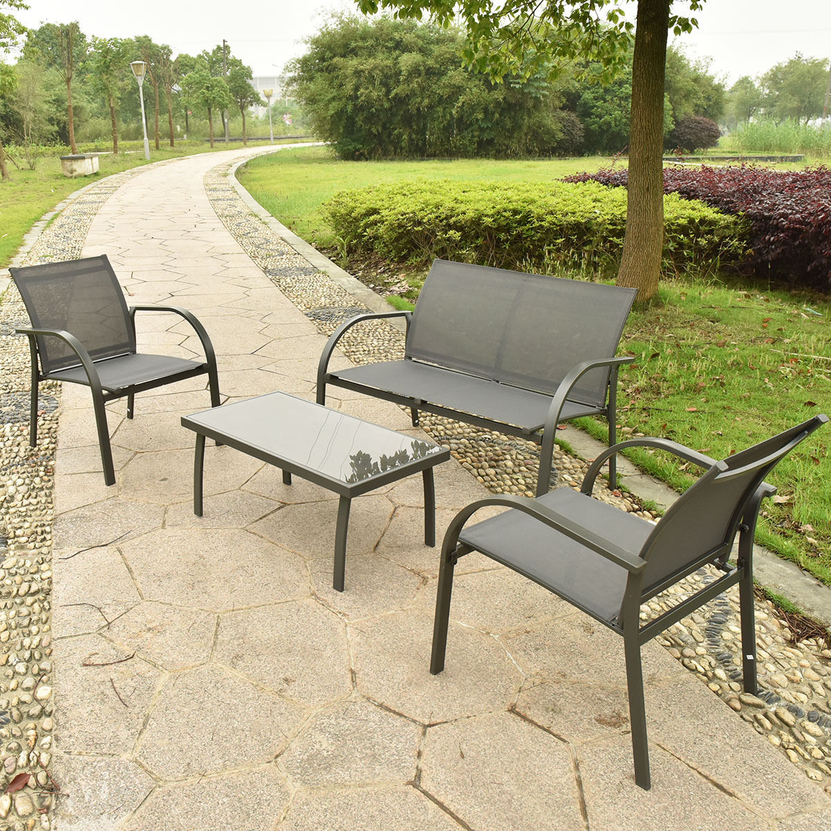 GHP 4-Pcs Outdoor Deep Gray Durable Powder Coated Steel Coffee Table and Chairs Set
