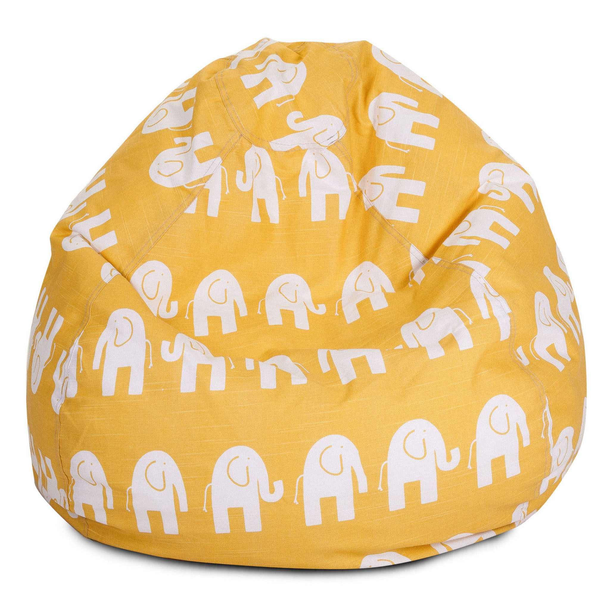 Majestic Home Goods Indoor Yellow Ellie Classic Bean Bag Chair 28 in L x 28 in W x 22 in H