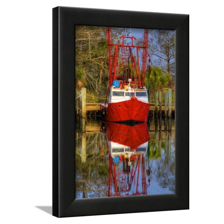 Red Shrimp Boat Docked In Harbor Apalachicola Florida Usa Framed Print Wall Art By Joanne Wells