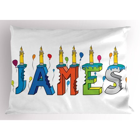 James Pillow Sham Surprise Party Themed Cheery Letters of a Popular Male Name Birthday Celebration, Decorative Standard Queen Size Printed Pillowcase, 30 X 20 Inches, Multicolor, by Ambesonne](Popular Themes)