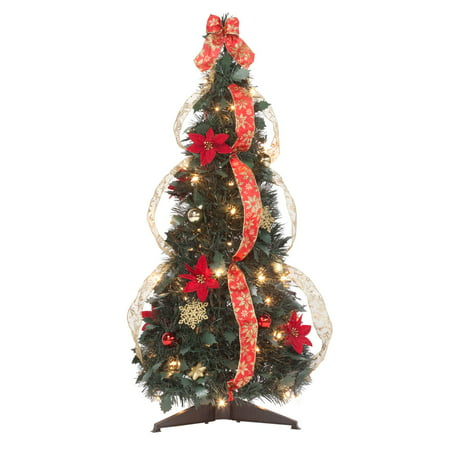 3' Red Poinsettia Pull-Up Tree by Holiday PeakTM ()