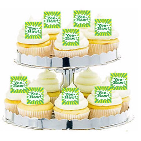 24pk Western Cowboy Yee Haw Edible Cupcake  Decoration Toppers / Picks - Cowboy Cupcakes