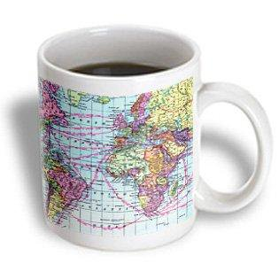 (3dRose Colorful Vintage World Map - distance calculations between countries on lines - south america africa, Ceramic Mug, 11-ounce)