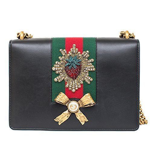 Gucci Peony Strawberry Black Leather shoulder bag Winter ...