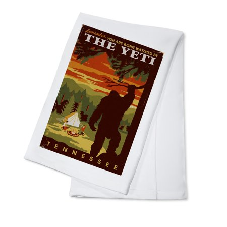 Tennessee  - You're Being Watched By The Yeti - Lantern Press Artwork (100% Cotton Kitchen Towel)