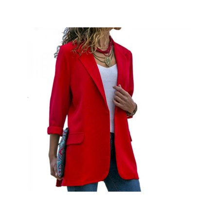 Slim Trucker Jacket (Nicesee Casual Women Slim Lapel Long Sleeve Jacket Coat Blazer )