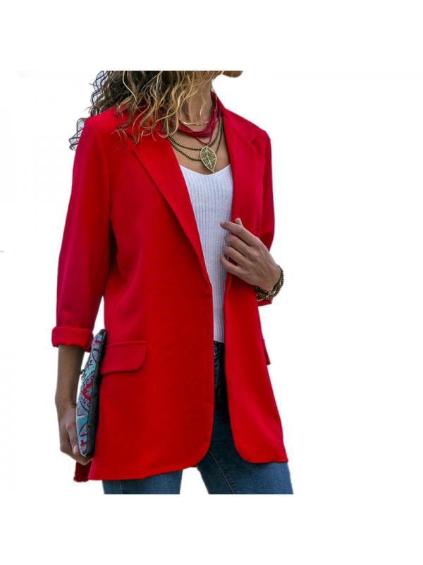 Nicesee Casual Women Slim Lapel Long Sleeve Jacket Coat Blazer