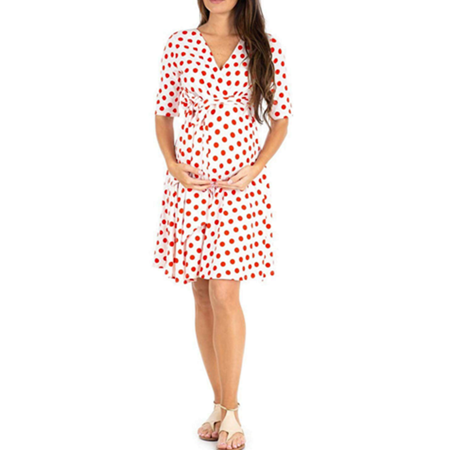 Women's Maternity Dress V-Neck Half Sleeve Polka Dots Front Tie Wrap Flower Print Comfortable Nursing Wrap Pregnancy Dress