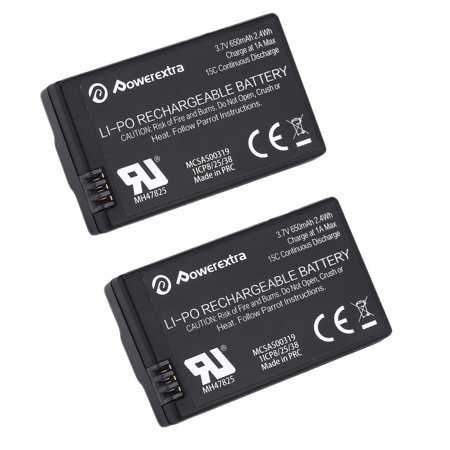 Powerextra 2-Pack 3.7V 650mAh Replacement LiPo Battery for Parrot MiniDrones Jumping Sumo, Rolling Spider, Air Night Drone, Airborne Cargo Drone, Jumping Race Drone, Night Hydrofoil Drone