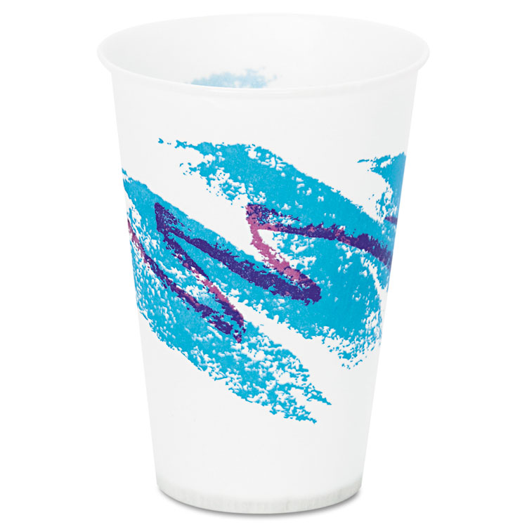 Jazz Waxed Paper Cold Cups, 7oz, Tide Design, 100/pack, 20 Packs/carton