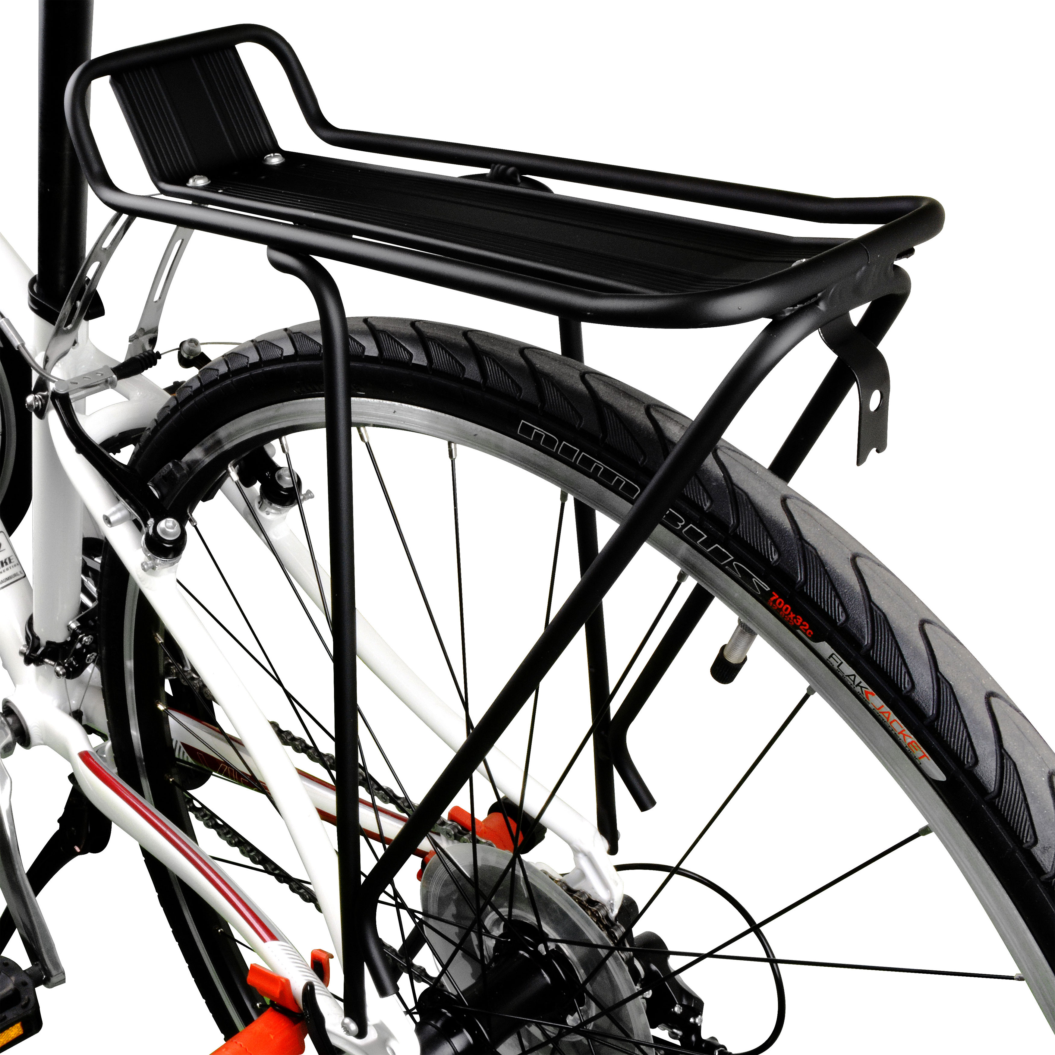 """BV Bicycle Commuter Rear Carrier Rack For 26"""" and 28"""" Bicycles Frames, Carries Up To 55 lbs, Frame Mounted , Fender Board"""