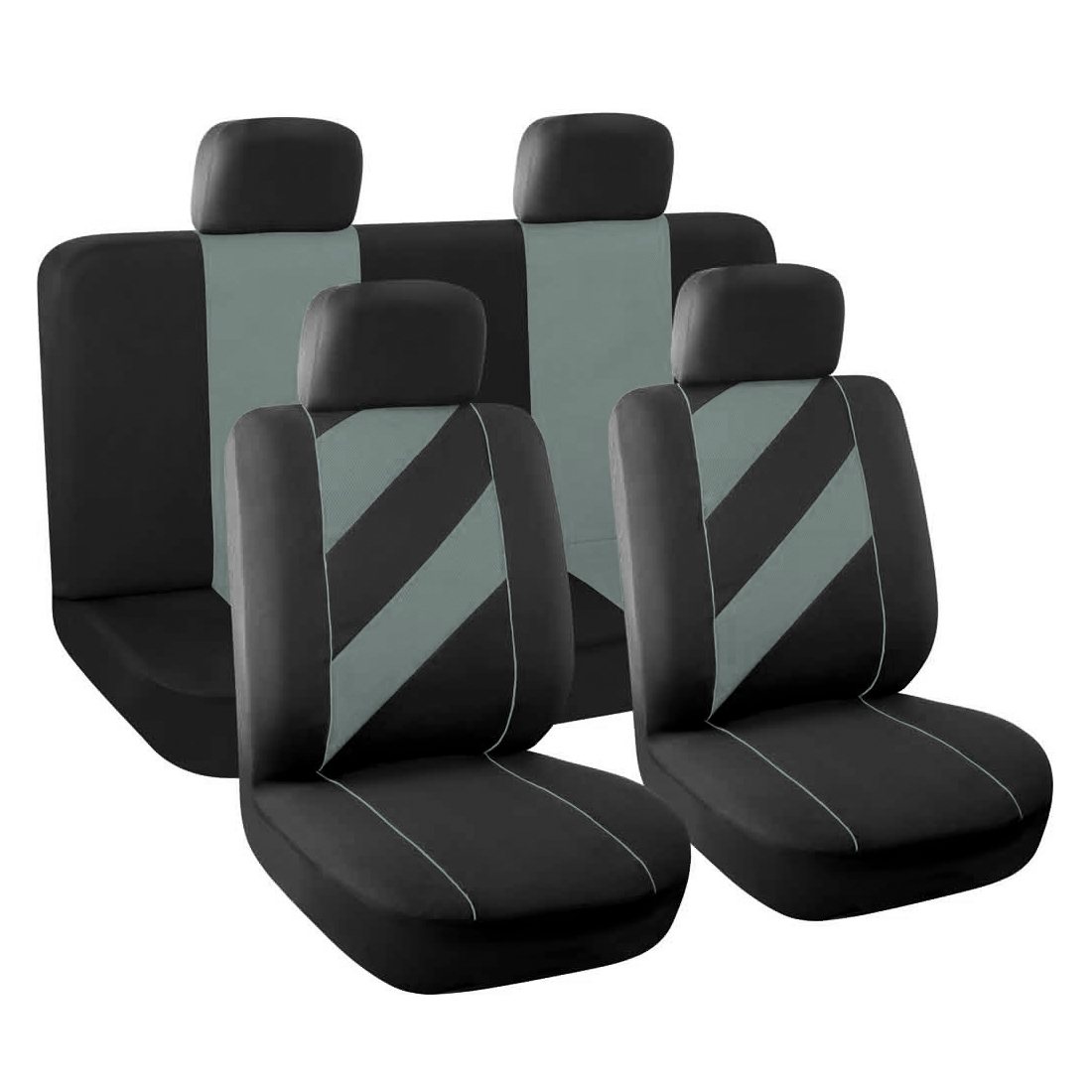 Unique Flat Cloth Full Set Auto Car Seat Covers w/ Headrests