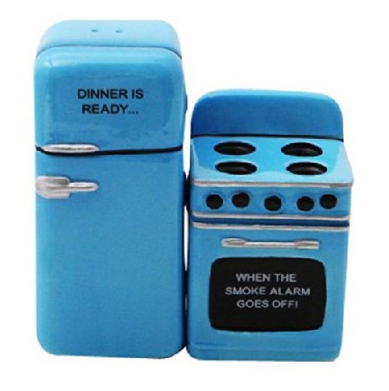 Retro Fridge and Stove Dinner is Ready Magnetic Ceramic Salt and Pepper Shakers by Pacific Trading