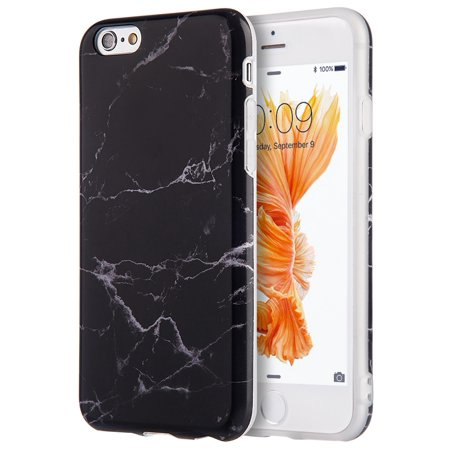 Apple Iphone 6 / 6S Marble IMD Soft TPU Case - Black ()