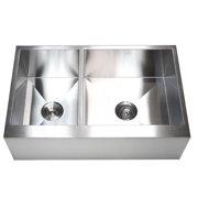 eModern Decor Ariel 33'' L x 21'' W Stainless Steel 40/60 Double Bowl Farmhouse Kitchen Sink