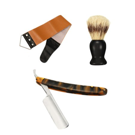440C Straight Razor Steel Cut Throat Shaving Brush Strop Wooden Box Gift Set - image 9 of 13