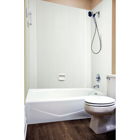 MirroFlex Tub and Shower Surround - Herringbone in White/Paintable