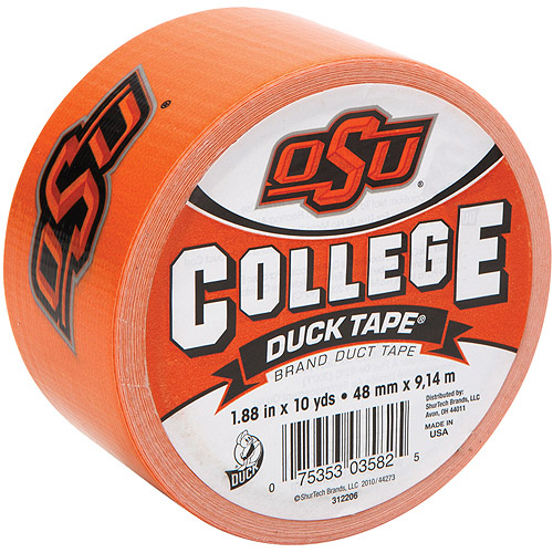 """Duck Brand Duct Tape, College Logo Duck Tape, 1.88"""" x 10 yard, Oklahoma State Univ. Cowboys"""