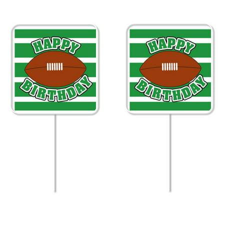Happy Birthday Football Cupcake Picks  24 Pack