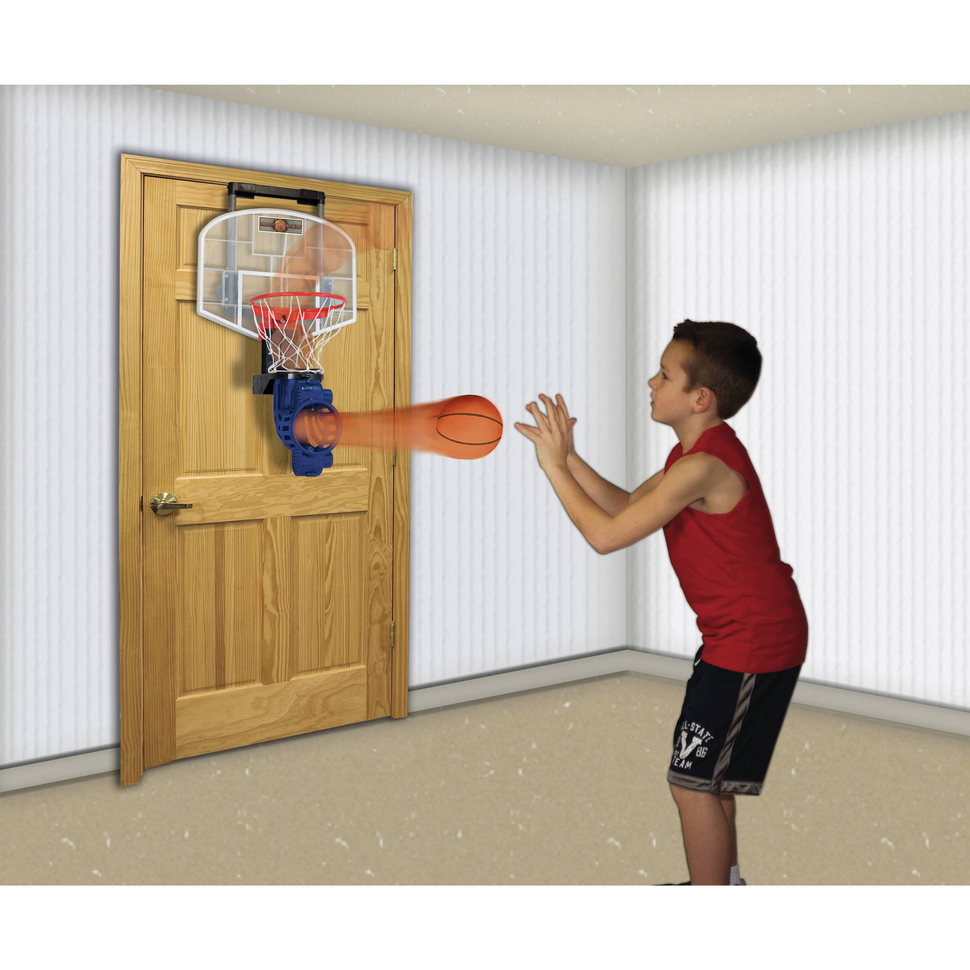 Franklin Sports Shoot Again Over The Door Mini Basketball Hoop With Rebounder And Automatic Ball Return