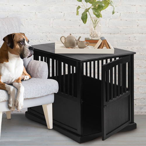Wooden Pet Crate End Table In Espresso