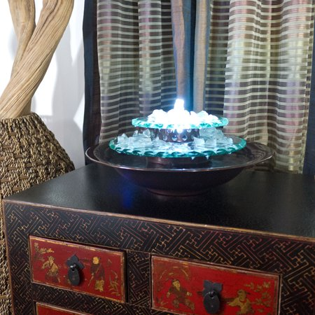 Moonlight Tabletop Fountain with Dark Copper Finish Bowl and LED (Dark Copper Fountain)
