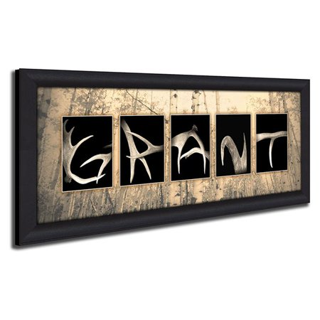 Personalized Antler Name Canvas Wall Art, Live Previews, Choose Each ...