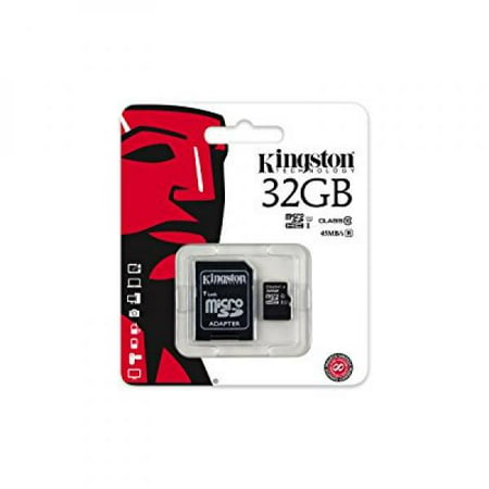 Kingston Digital 32GB microSDHC Class 10 UHS-I 45MB/s Read Card with SD Adapter