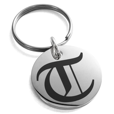 Stainless Steel Letter T Initial Old English Monogram Engraved Small Medallion Circle Charm Keychain Keyring ()