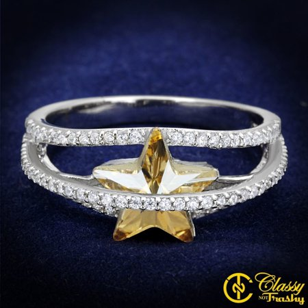Classy Not Trashy® Women's Citrine Yellow Top Grade Crystal Star Cut Ring - Size 9 (Cut Crystal Star)