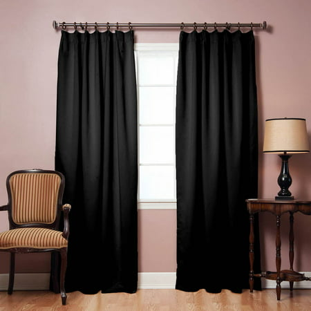 Quality Home Pinch Pleat Style Thermal Insulated Blackout Curtain Black 42 X 84 Set Of 2