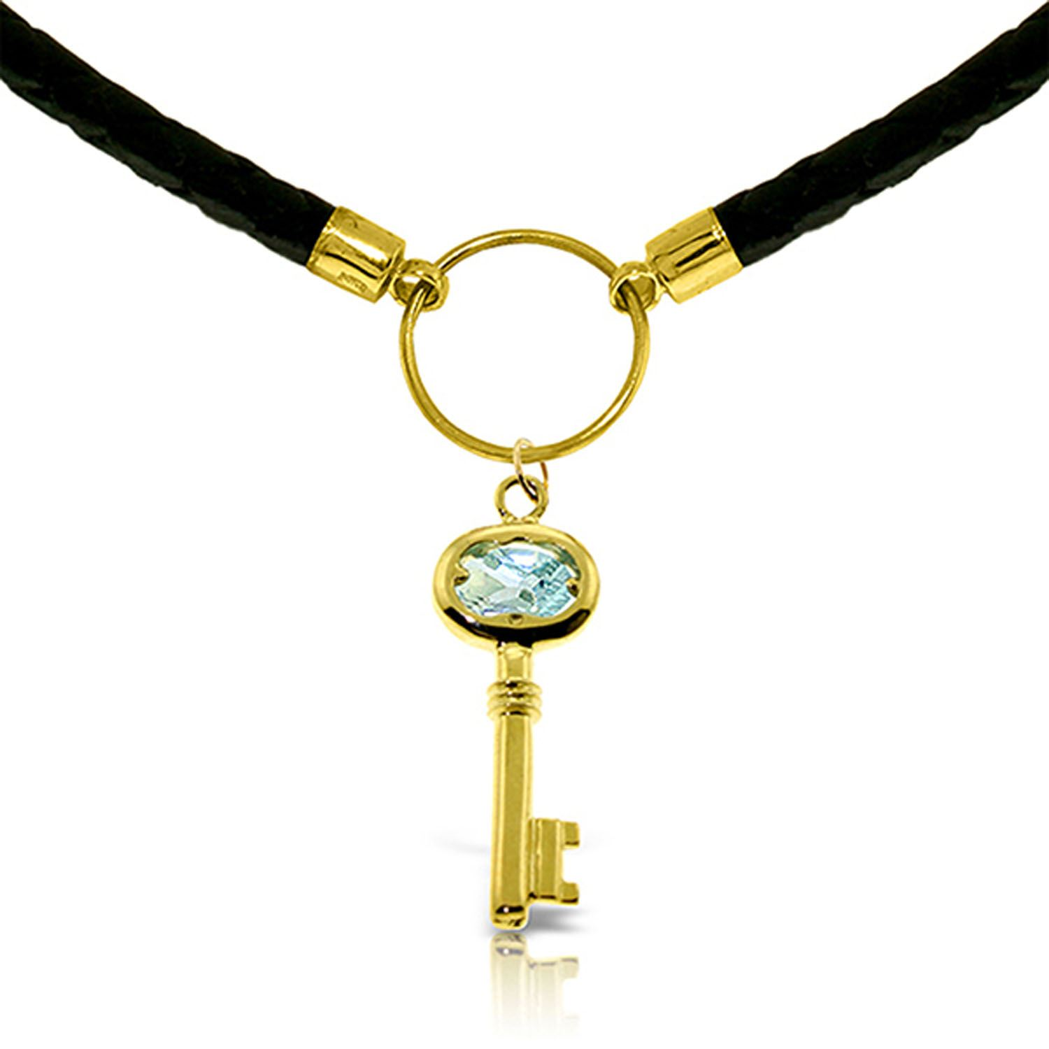 ALARRI 0.5 Carat 14K Solid Gold Leather Key Necklace Aquamarine with 24 Inch Chain Length. by ALARRI
