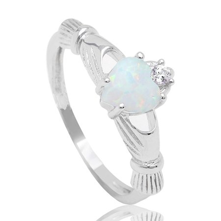 Darlina Claddagh Princess Crown Lab Created Fire Opal Ring - Ginger Lyne Collection