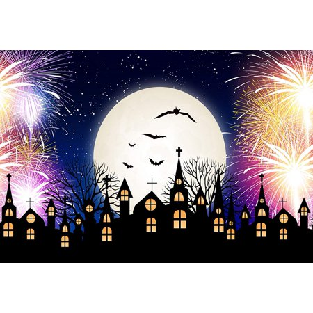 Church Street's Halloween Night Block Party (ABPHOTO Polyester 7x5ft Halloween Backdrops Church Moon Firework Night Background Photography Party Photo Booth)
