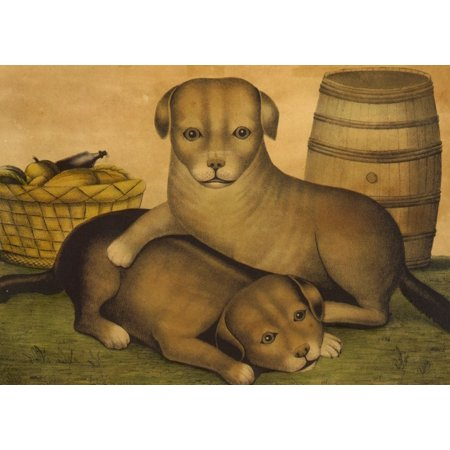 Comstock Castle 36 Inch Range (Kelloggs & Comstock Lithograph Two puppies c1849 Stretched Canvas - Kelloggs & Comstock (24 x)