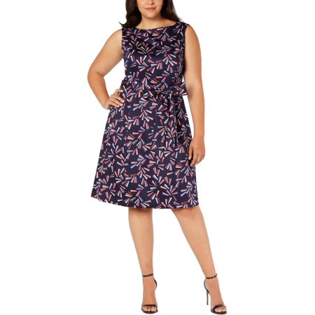 Anne Klein Womens Plus Printed Pleated Midi Dress Jointed Cotton Women Dresses