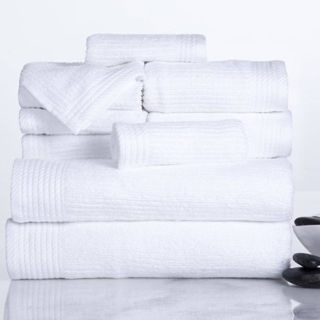 Somerset Home Ribbed 100% Cotton 10-Piece Towel Set - White ()
