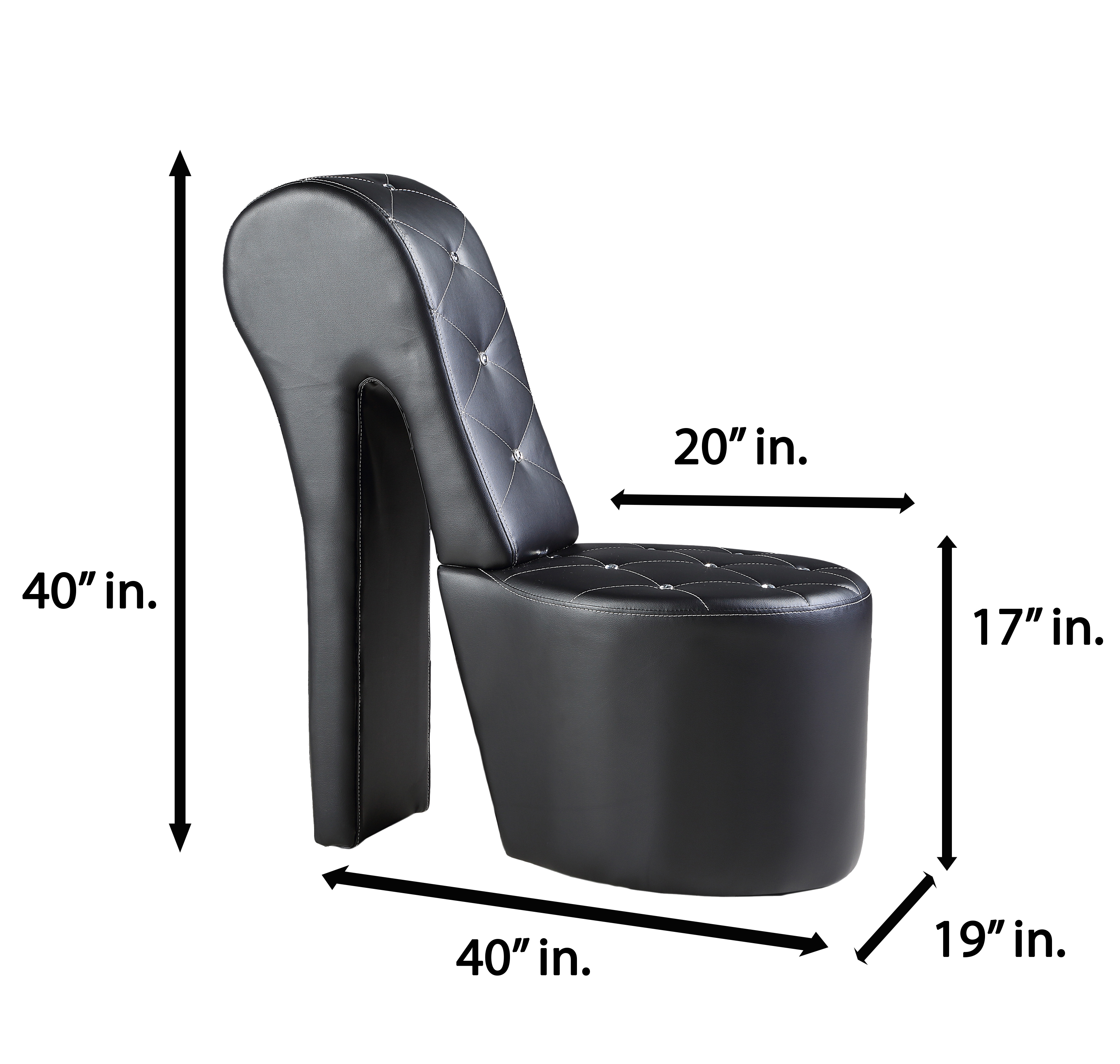 Best Master Furniture S High Heel Faux Leather Shoe Chair With Crystal Studs Multiple Colors Available