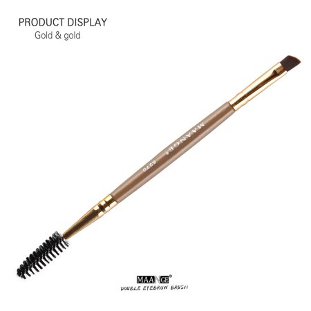 Duo Brow Makeup Brush Wood Handle Double Sided Eyebrow Flat Angled Brushes