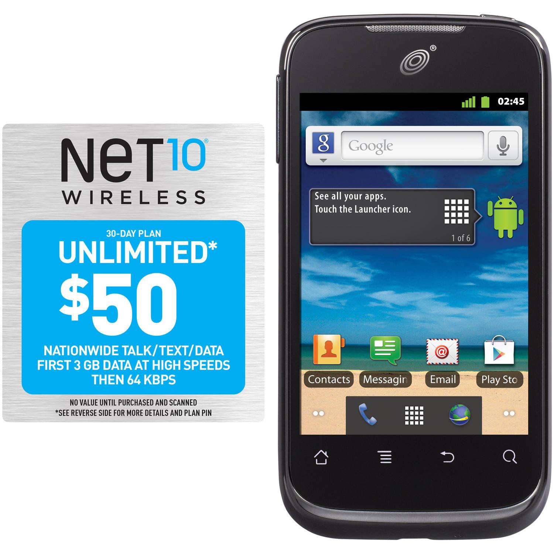 Net10 Huawei Ascend II M865C Prepaid Cell Phone with Bonus $50 Plan, Refurbished