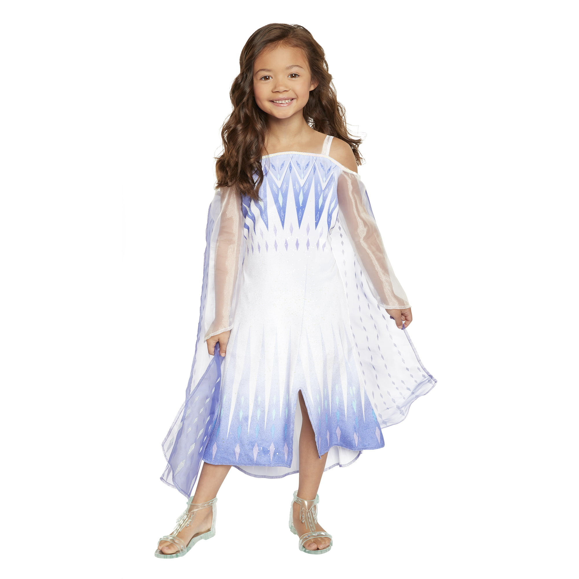 Kids Size Girls White Snow Queen Costume DRESS CAPE TIARA