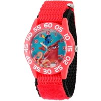 Finding Dory, Nemo, Hank and Dory Boys' Red Plastic Time Teacher Watch, Red Hook and Loop Nylon Strap with Black Backing