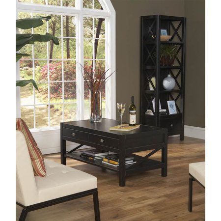 Anna Collection Coffee Table Narrow Bookcase Living Room Set